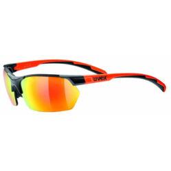 Uvex Sportstyle 114 cserélhető lencsés kerékpáros sportszemüveg, fekete-narancs, 3 lencsével (S3-S1-S0)
