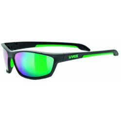 Uvex Sportstyle 216 kerékpáros sportszemüveg, fekete-zöld, S3 lencsével