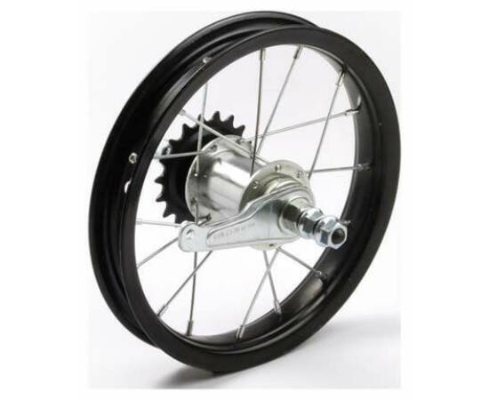 """Hauser 12"""" hátsó kerék, csavaros tengellyel, kontrafékes, fekete"""