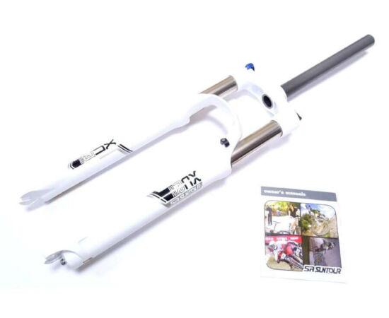 Suntour XCR32-LO 26-os MTB teleszkóp, 1 1/8 colos A-Head nyakkal (28,6 x 255 mm), 100 mm rugóút, fehér