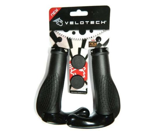 Velotech ergonomikus, bilincses markolat, 135 mm, fekete, kormányszarvval