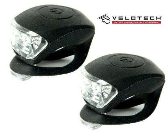 Velotech 2 LED-es első + hátsó villogó szett, fekete