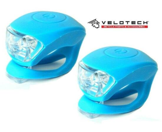 Velotech 2 LED-es első + hátsó villogó szett, kék