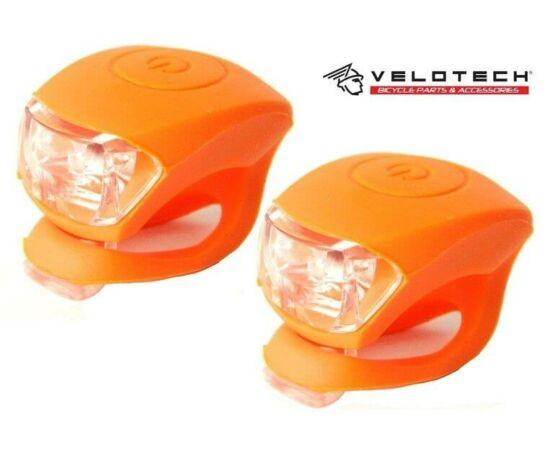 Velotech 2 LED-es első + hátsó villogó szett, narancs