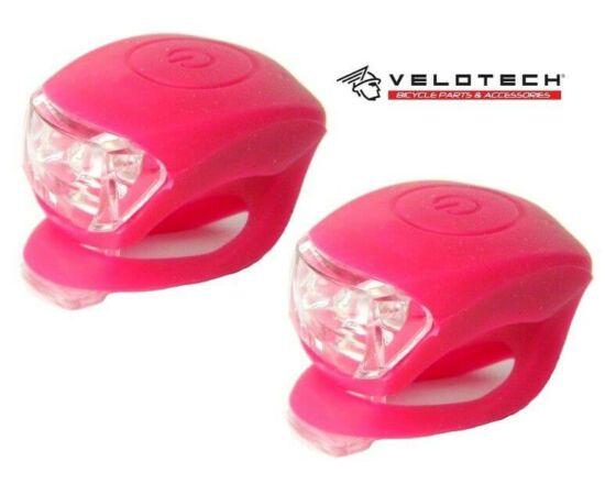 Velotech 2 LED-es első + hátsó villogó szett, pink