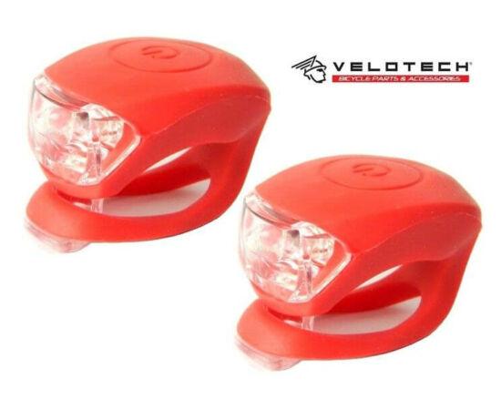 Velotech 2 LED-es első + hátsó villogó szett, piros