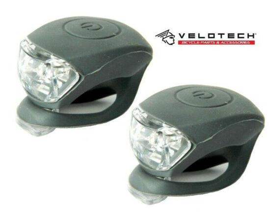 Velotech 2 LED-es első + hátsó villogó szett, szürke