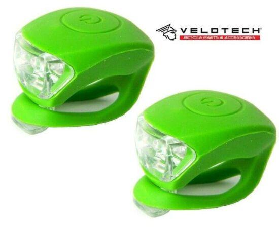 Velotech 2 LED-es első + hátsó villogó szett, zöld