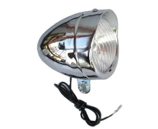 Velotech retro dinamós első lámpa krómozott, vezetékkel