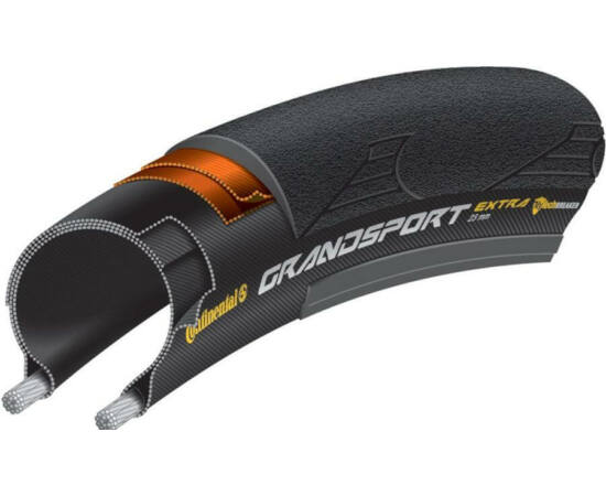 Continental Grand Sport Race 622-23 (700x23C) külső gumi (köpeny), defektvédett (Nytech Breaker), kevlárperemes, 230g