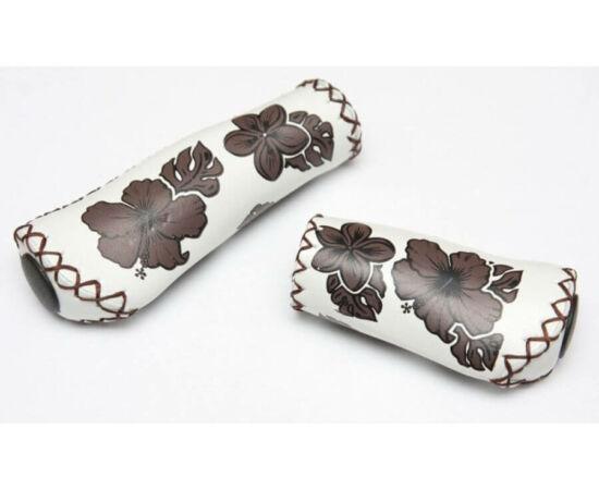 Velo ergonomikus bőr markolat, 95-135 mm, agyváltóhoz, virágmintás, fehér