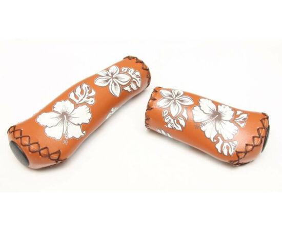 Velo ergonomikus bőr markolat, 95-135 mm, agyváltóhoz, virágmintás, barna
