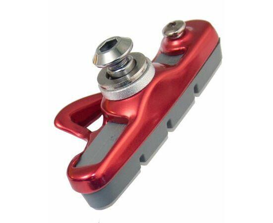 Acor ABS21202 cserélhető betétes országúti fékpofa, 55 mm, 2 pár, piros-fekete