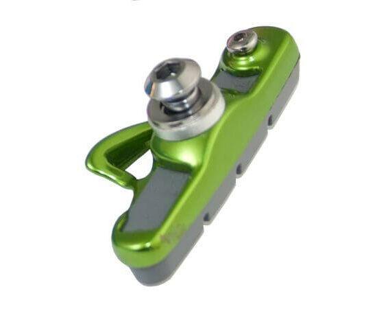 Acor ABS21202 cserélhető betétes országúti fékpofa, 55 mm, 2 pár, zöld-fehér