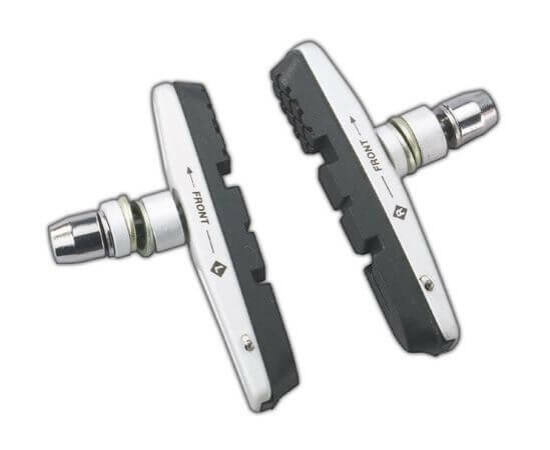 Acor ABS2301 cserélhető betétes csavaros V-fék fékpofa, 72 mm, 2 pár, ezüst-fekete