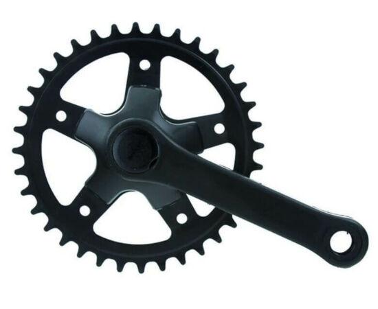 Neuzer négyszögtengelyes single speed gyerek hajtómű, 28T, 89 mm, acél, fekete