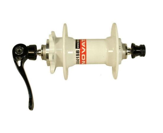 Novatec D041SB MTB első kerékagy, tárcsafékes, ipari csapágyas, gyorszáras, 32H, fehér