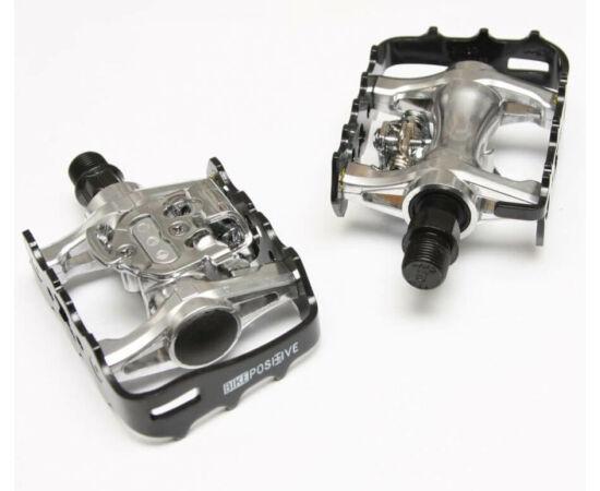 Bike Positive kombinált (alu keretes és SPD patent) pedál, fekete-ezüst
