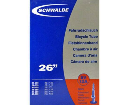 Schwalbe SV12A 26 x 1,0-1,5 (25/38-559) MTB belső gumi 40 mm hosszú 120 g, presta