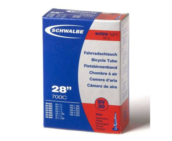 Schwalbe SV20 622 x 18/25 Extra Light belső gumi 65 g, presta