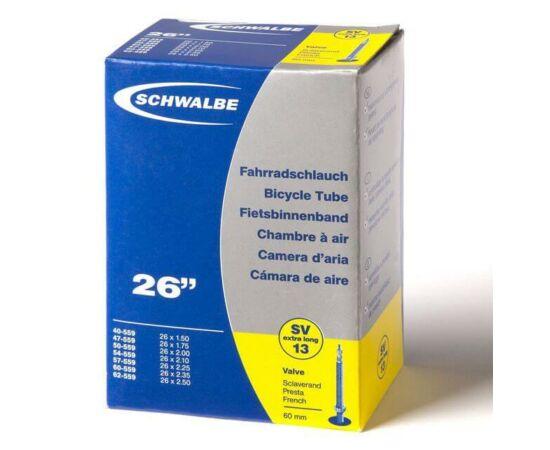 Schwalbe SVL13 26 x 1,5-2,5 belső gumi 60 mm hosszú szeleppel 190 g, presta