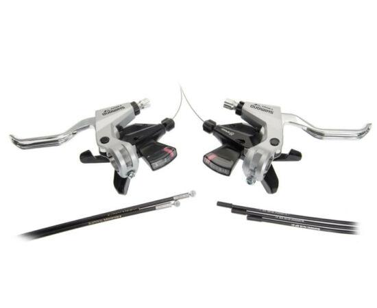Shimano Altus ST-M310 fékváltókar és bowden szett - 4 ujjas fékkarokkal - 3x8-as ezüst