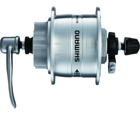 Shimano Nexus DH-3D32 agydinamó, 36H, gyorszáras, tárcsafékes (6 csavaros) 6V, 3W, ezüst színű,SM-DH10 túlfeszültség védelemmel