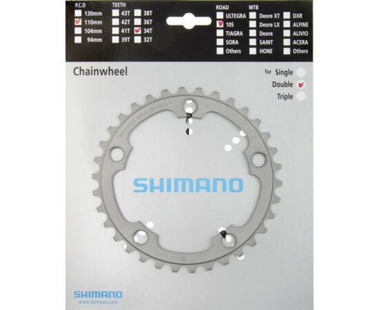 Shimano 105 országúti első lánckerék, 34T, 110 mm, alumínium, ezüst színű