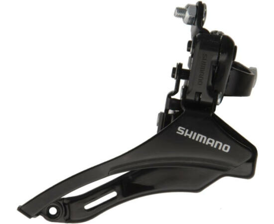 Shimano Tourney TZ-31 felül húzós első váltó 48T, 28,6mm bilinccsel, 3x6-7s, fekete