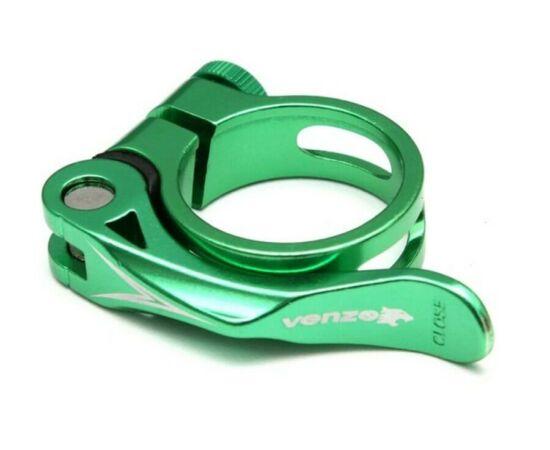 Venzo gyorszáras nyeregcső bilincs, zöld, 31,8 mm