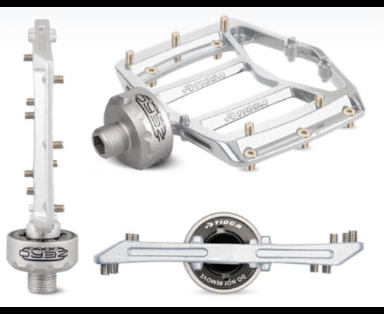 Tioga MT Zero ipari csapágyas alumínium platform pedál cserélhető tüskékkel, ezüst