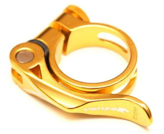 Venzo gyorszáras nyeregcső bilincs, Arany, 31,8 mm