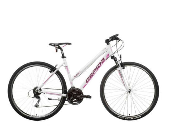 Gepida Alboin 300 CRS alu 28-as női cross kerékpár, 24s, 48 cm, fehér-rózsaszín