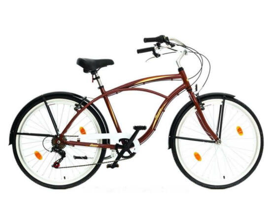 Hauser Cruiser férfi 26-os városi kerékpár, alumínium, 6s, 18-as, barna