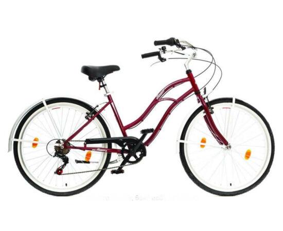 Hauser Cruiser női 26-os városi kerékpár, acél, 6s, 18-as, bordó
