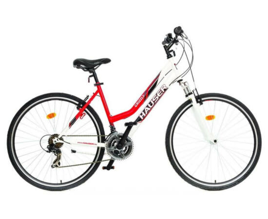 Hauser Grizzly Cross acél 28-as női kerékpár, 21s, 18-as, fehér-piros