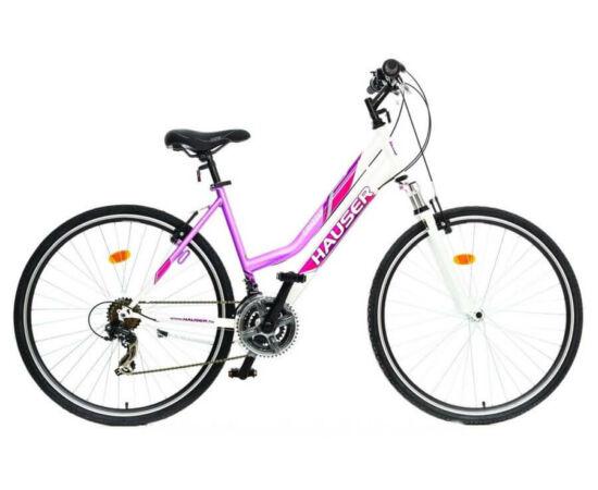Hauser Grizzly Cross acél 28-as női kerékpár, 21s, 18-as, fehér-rózsaszín