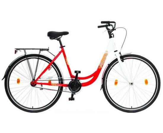 Hauser Swan 28-os női városi acél kerékpár, 1s, fehér-piros
