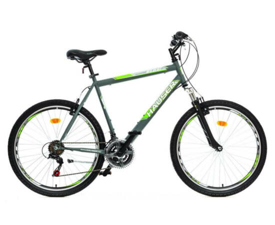 Hauser Wildcat férfi 26-os MTB kerékpár, teleszkópos, acél, 18s, 22-es, matt szürke-zöld
