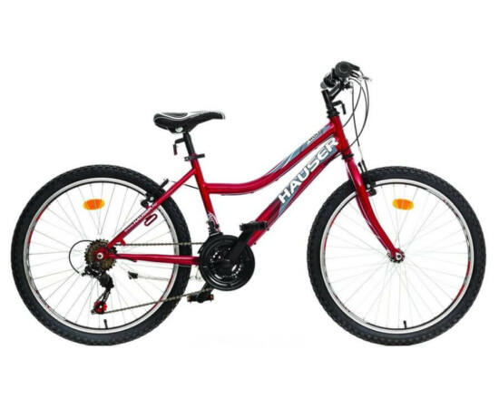 Hauser Wolf 24-es lány kerékpár, 18s, acél, bordó