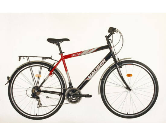 Hauser Grizzly acél 28-as férfi trekking kerékpár, 21s, 21-es, fekete - piros