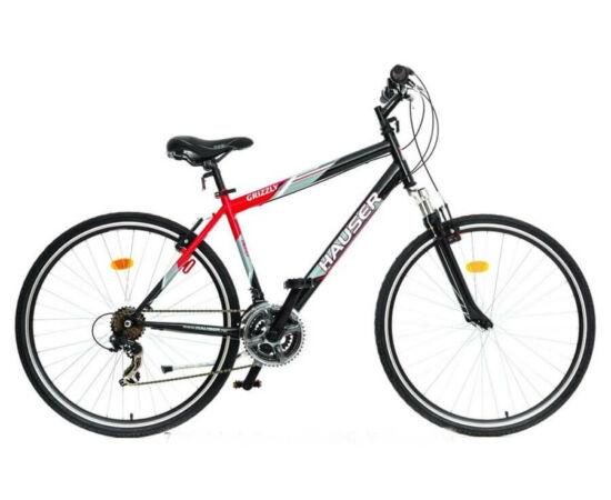Hauser Grizzly Cross acél 28-as férfi kerékpár, 21s, 19-es, fekete - piros