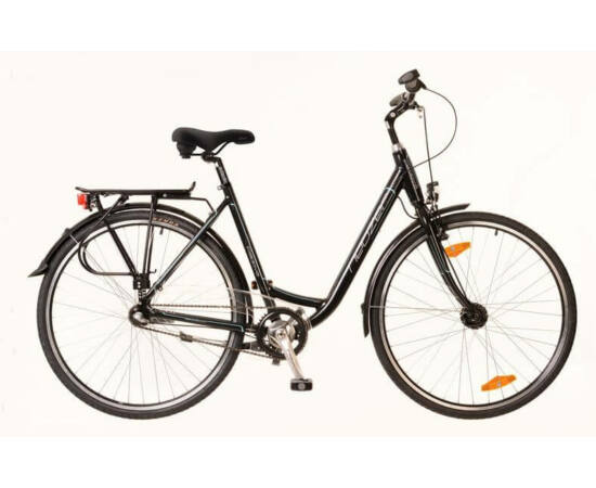 Neuzer Padova 28-as női városi kerékpár, alumínium, agyváltós (3s), agydinamós, 19-es, fekete-türkiz