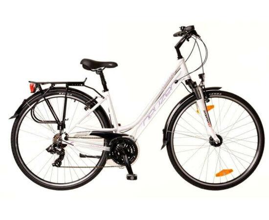 Neuzer Ravenna 100 női 28-as trekking kerékpár, 21s, alumínium, agydinamós, 19-es, fehér-lila-türkiz