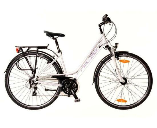 Neuzer Ravenna 200 női 28-as trekking kerékpár, 24s, alumínium,agydinamós, 19-es, fehér-lila-szürke