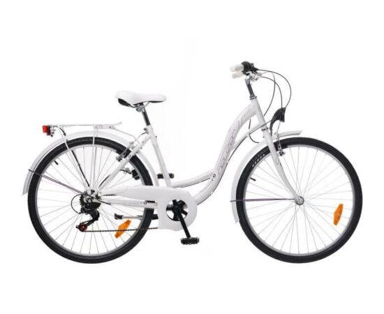 Neuzer Venezia 6 26-os női városi kerékpár, 6s, acél, 17-es, fehér-szürke-lila