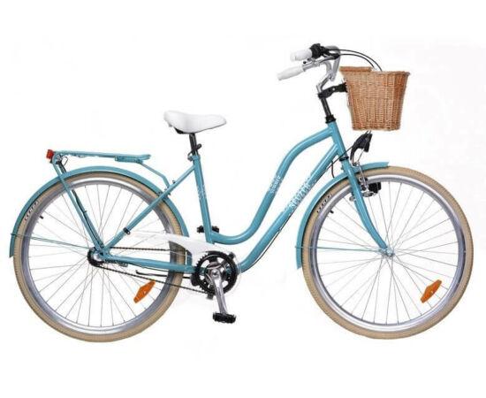 Neuzer Summer 28-as női városi kerékpár, agyváltós,3s, acél, 17-es, türkiz-fehér