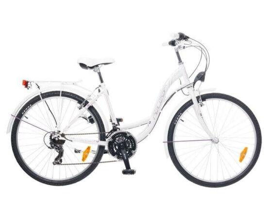 Neuzer Venezia 30 26-os női városi kerékpár, 21s, acél, 17-es, fehér-szürke-lila