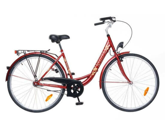 Neuzer Balaton 28-as női városi kerékpár, 1s, acél, 20-as, bordó, virágmintás
