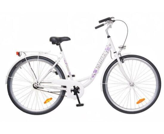 Neuzer Balaton 28-as acél női városi kerékpár, 3s, agyváltós, fehér, virágmintás